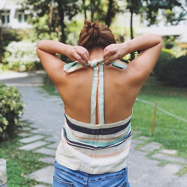 Summer perfect multi-style YAS tie top in Sky 🌤 @gabbydario