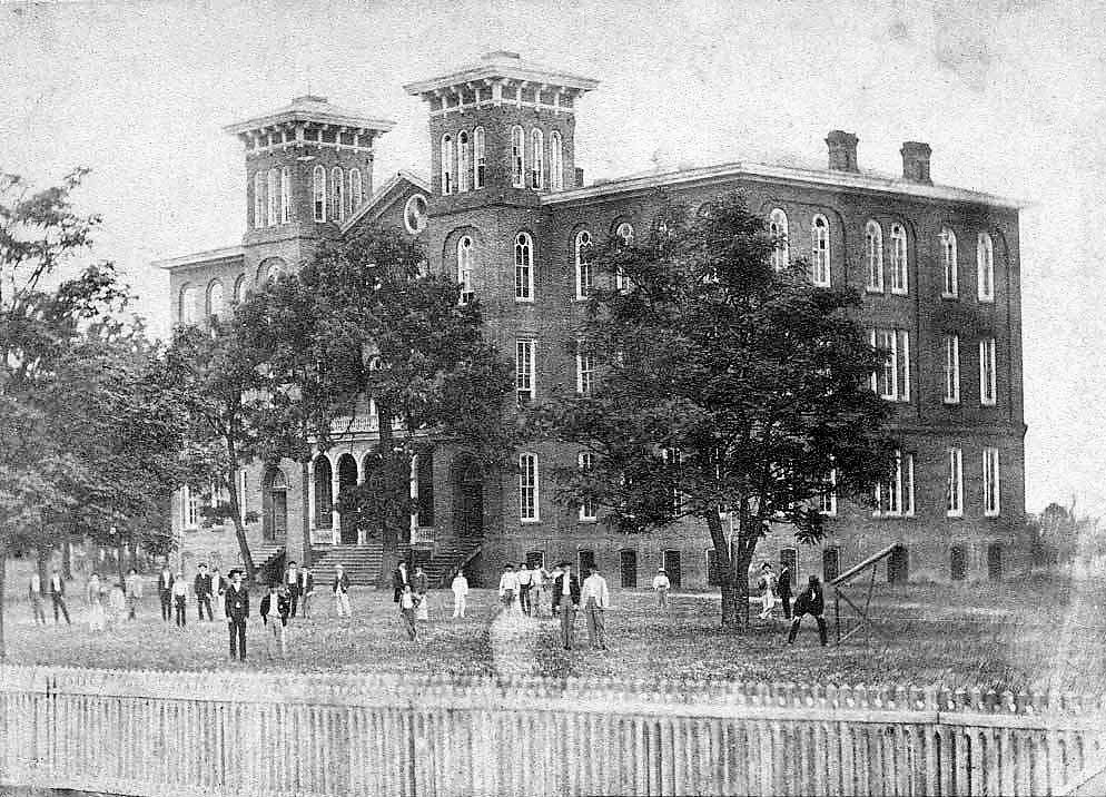 The Old Main in 1883. It burned down four years later.   Via