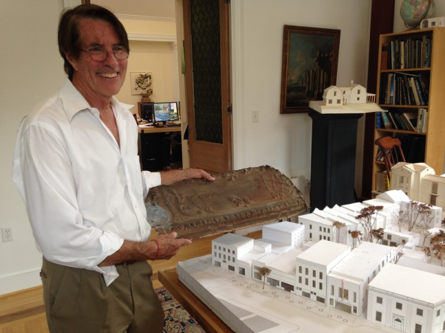 Architect Robert Bell with a piece of the original Dumbarton Theater, beside his model for the renovated Georgetown Theater   via