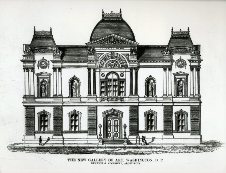 A drawing of the Renwick facade, 1859   via