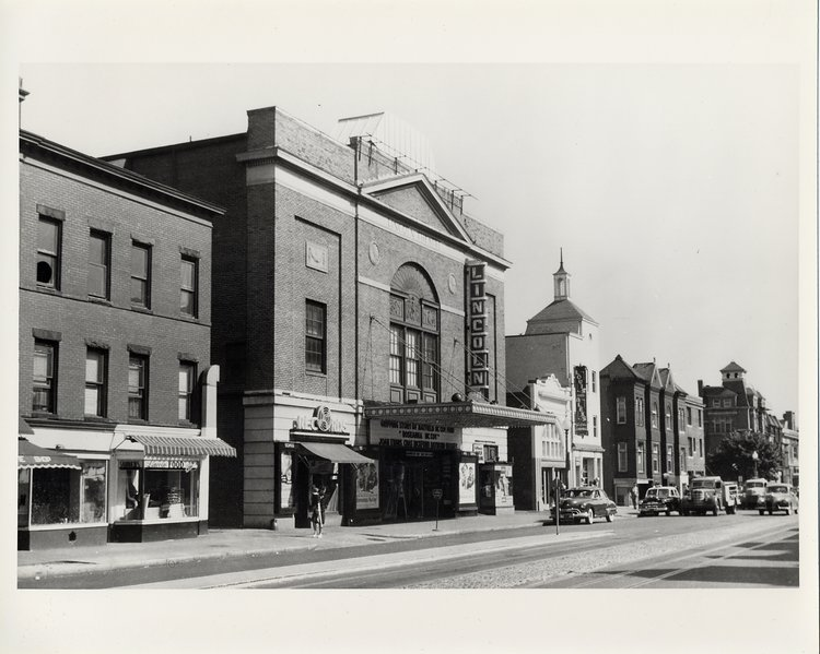 U Street in the 1950s, before Ben's opened (the white building next to the Lincoln Theater,   via