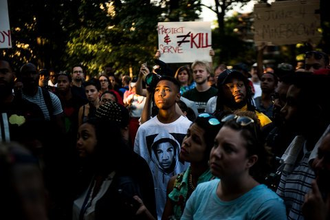 Peaceful protests and demonstrations continue in the park. Pictured, 2014 protests over police brutality after the shooting of Michael Brown in Ferguson, MI.   via