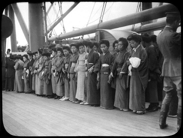 Japanese women on a ship for America, c. 1925  via
