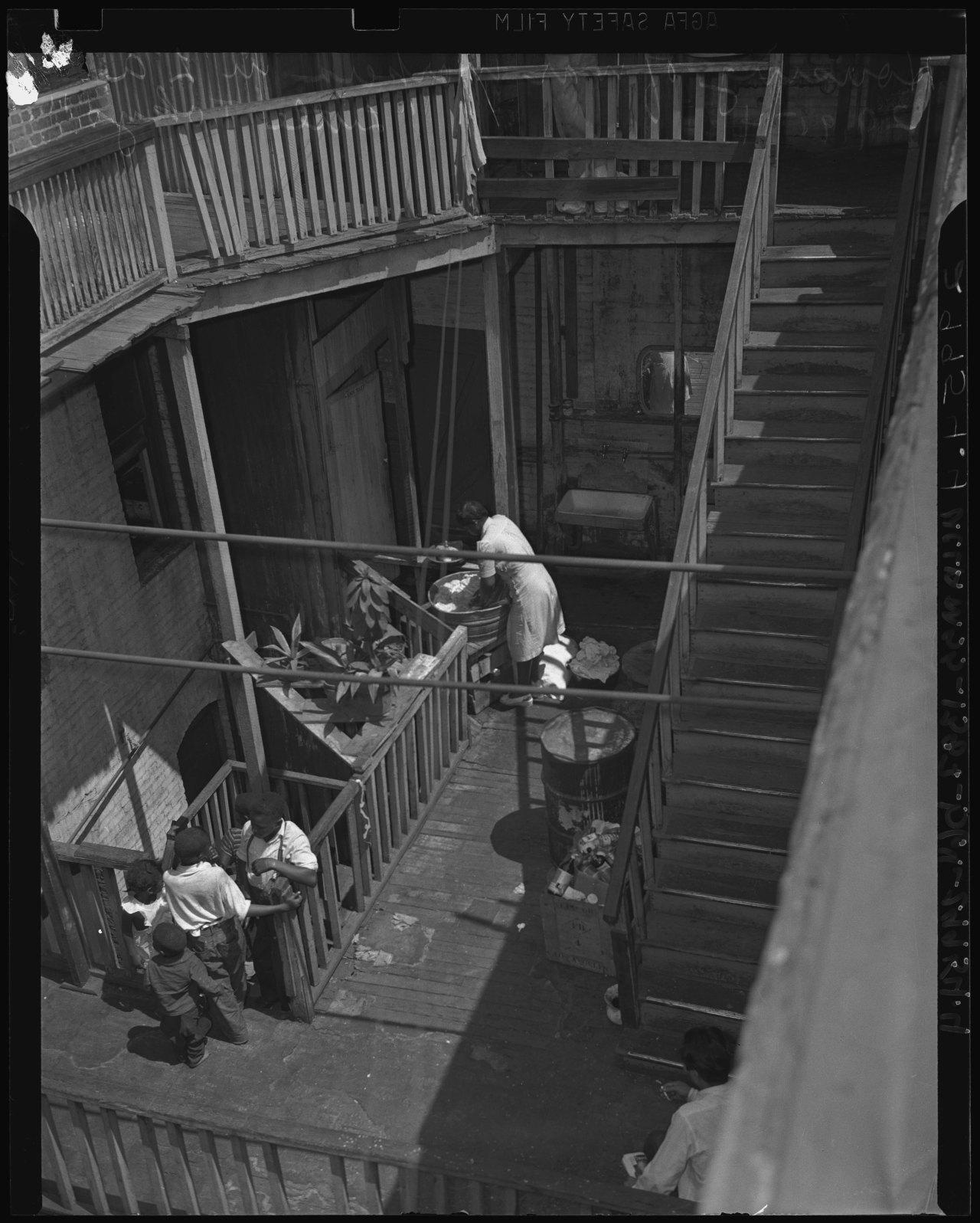 An apartment courtyard in Bronzeville  via