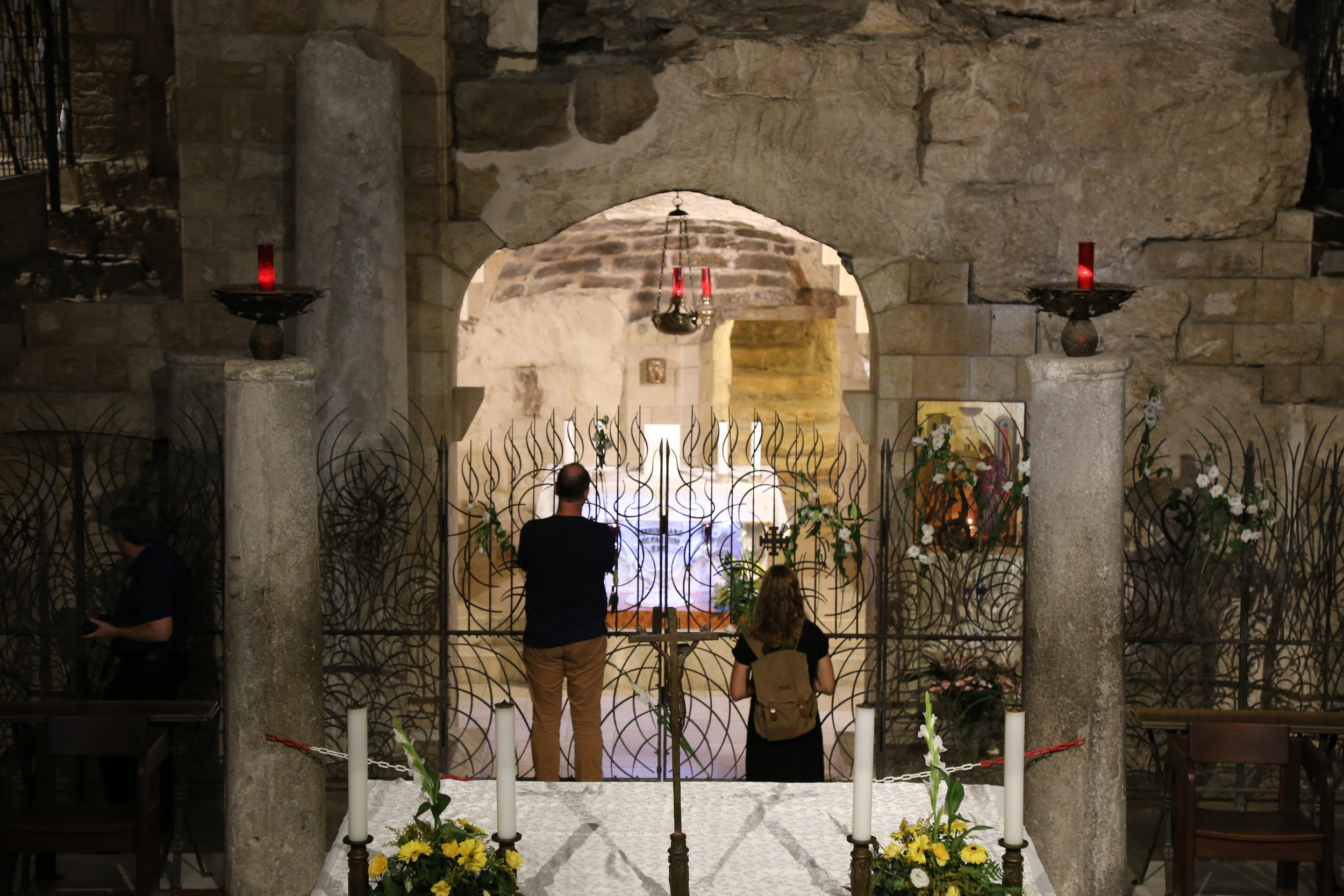 Annunciation Grotto in the Basilica - marking the spot where we believe Gabriel visited Mary.