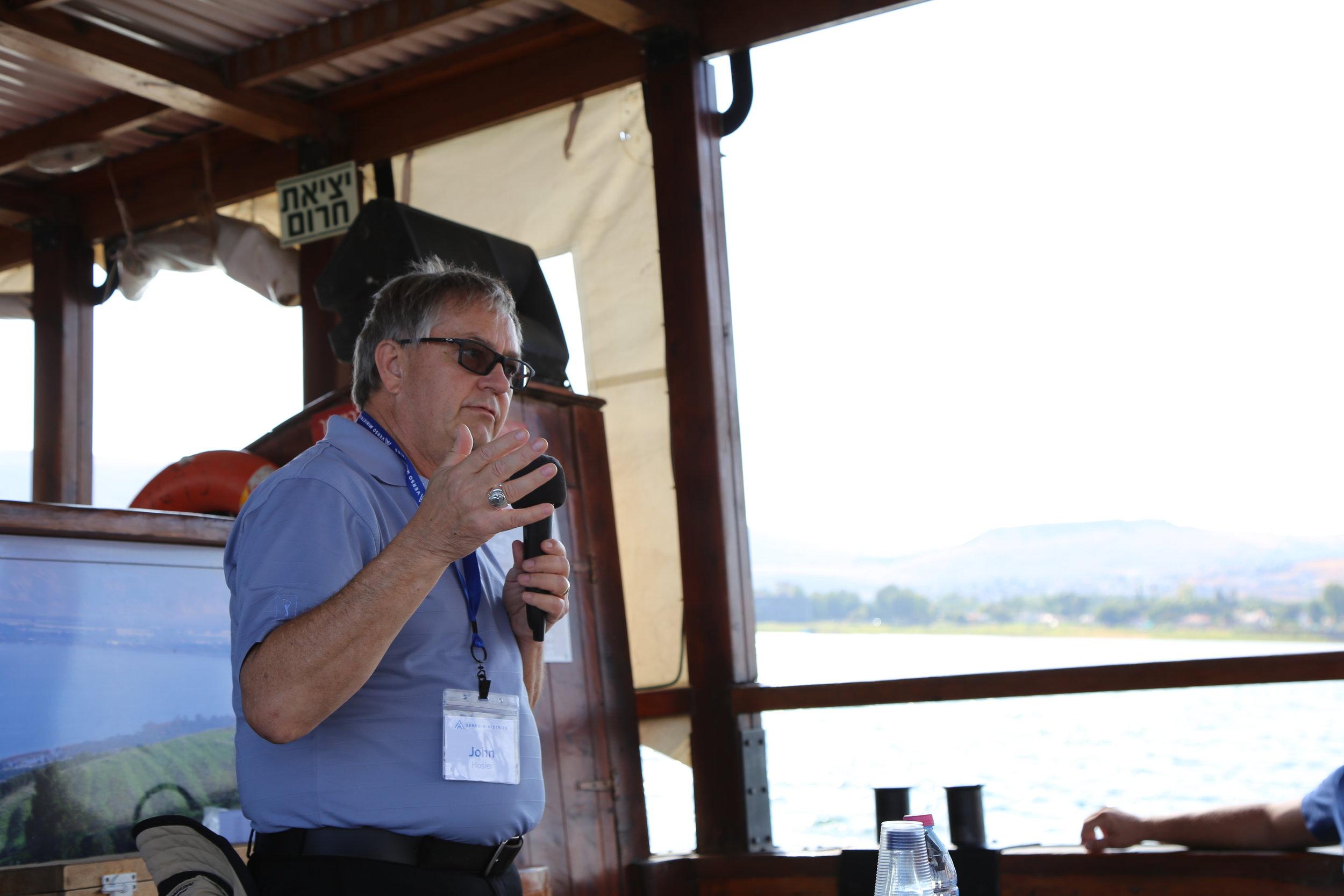 Deacon John preaching on the Sea of Galilee