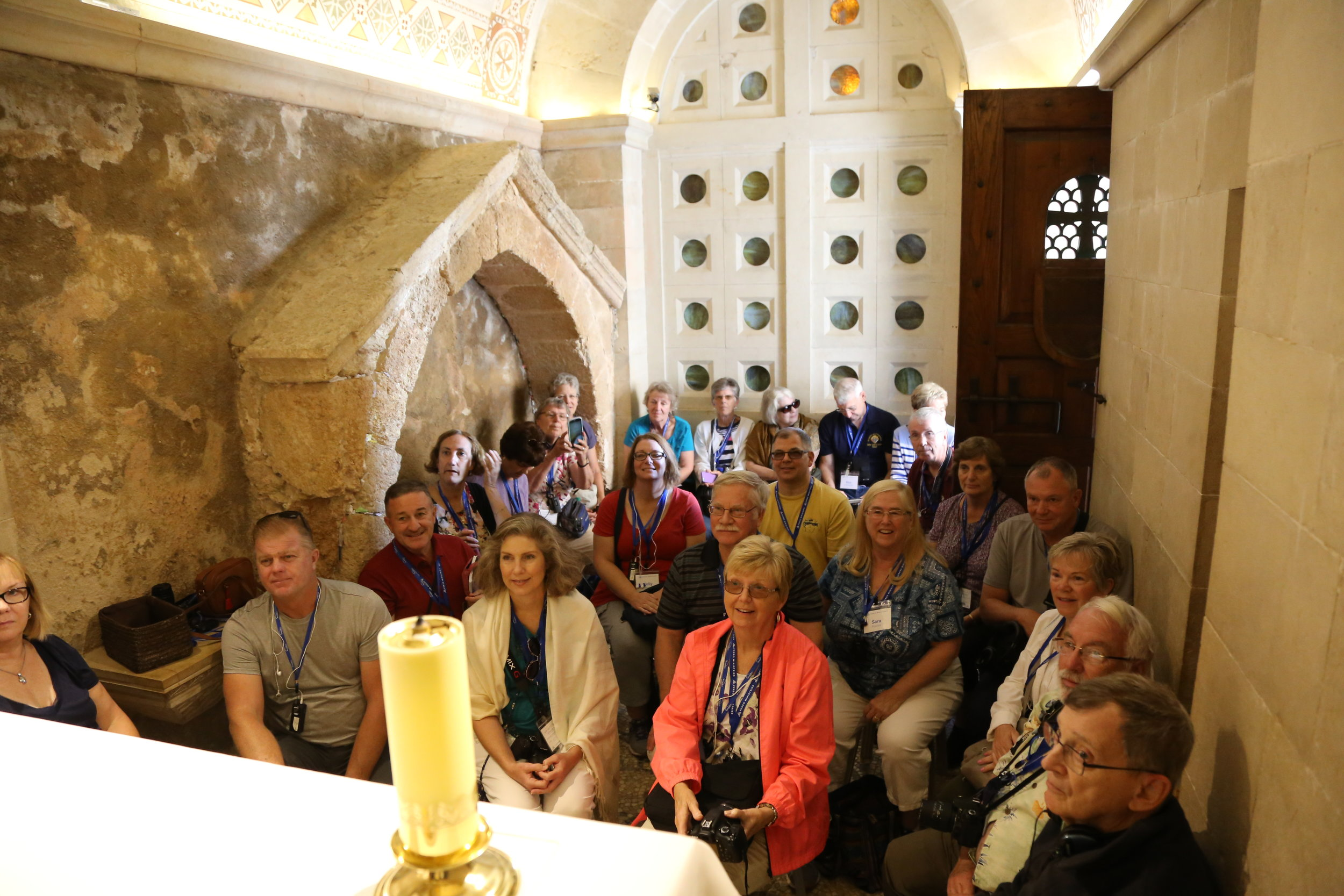 Getting ready to celebrate Mass on top of the Mount of Transfiguration. They elected to stay in the cramped chapel, rather than outside.