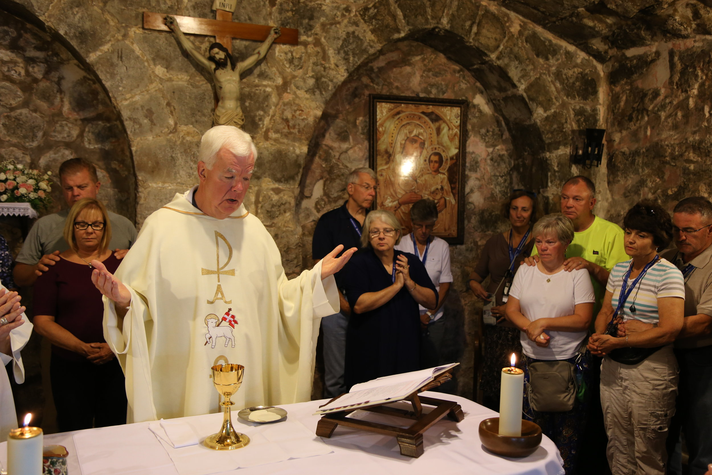 Celebrating Mass in the Church of the Holy Sepulchre.