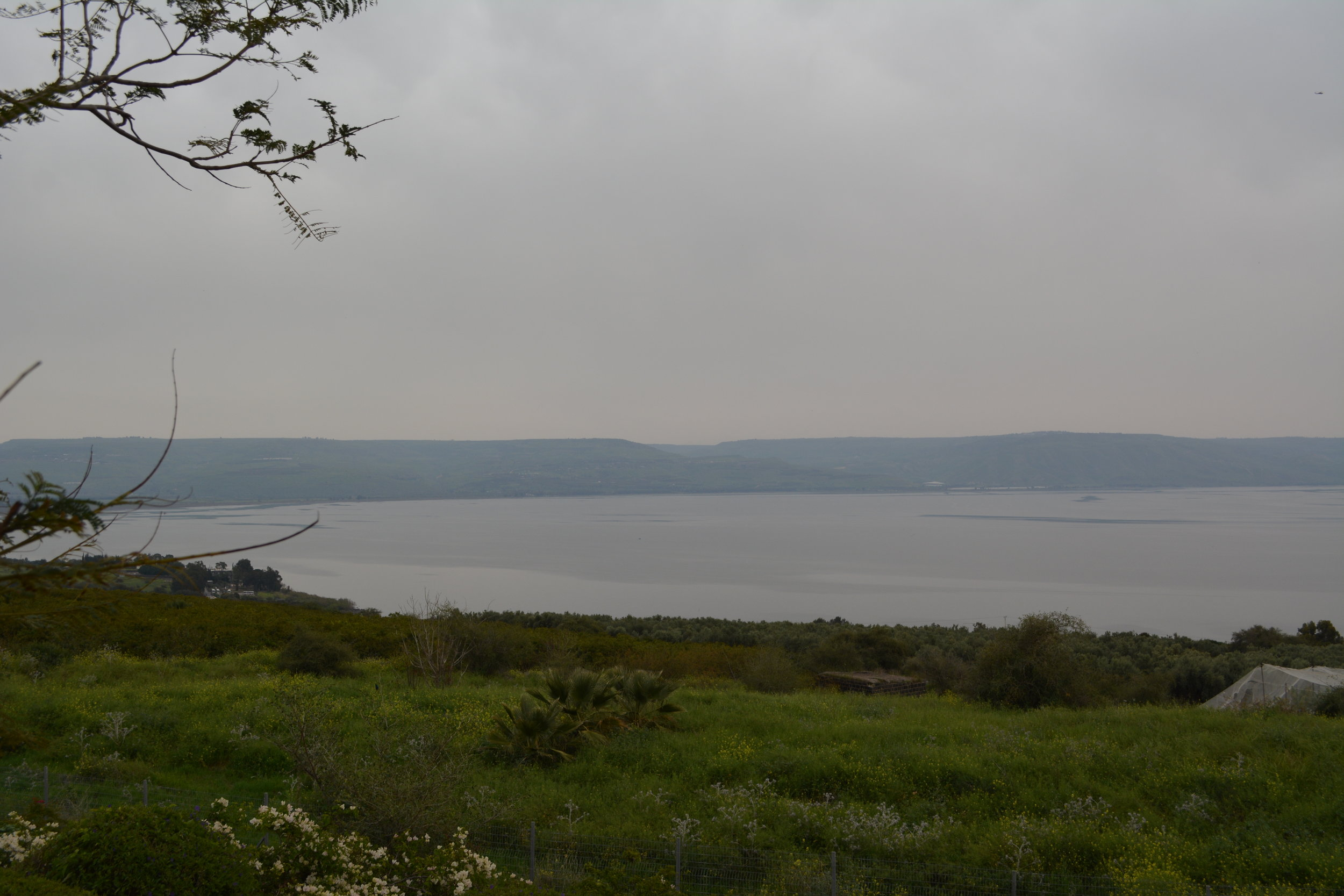 View from atop the Mount of the Beatitudes at the Sea of Galilee