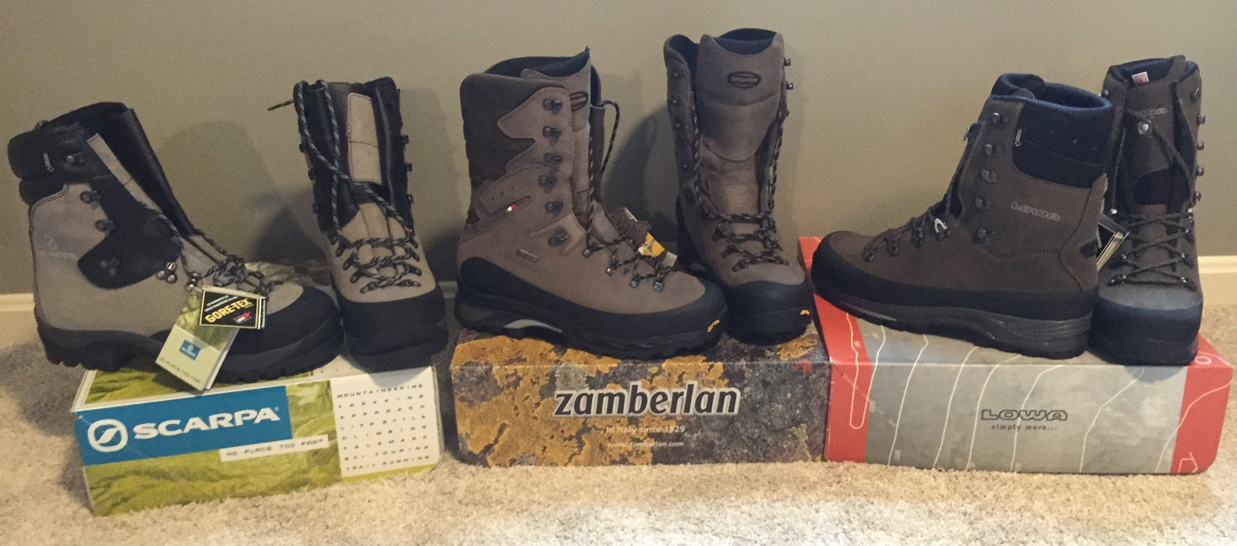 (L-R) Scarpa Wrangells, Zamberlan Outfitters, Lowa Tibets