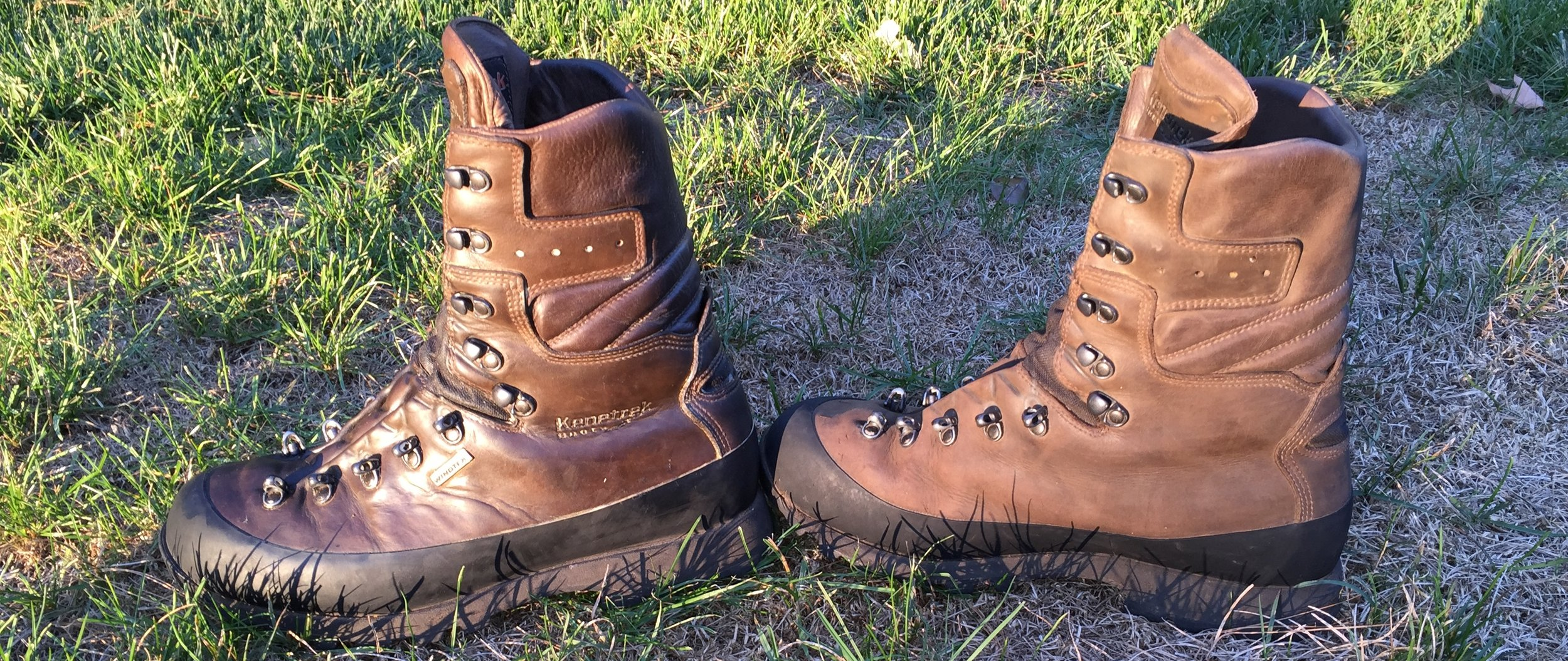 Treating boots will change their color. The boot on the left has been treated with  Kenetrek Ke-Wax .