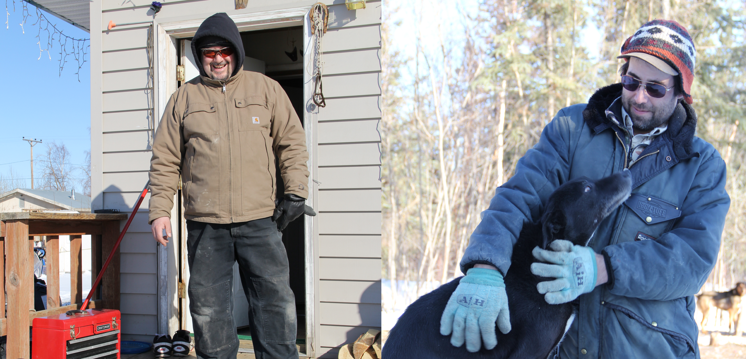 Left: Charlie Write on his front porch. Right: James Roberts with one of his dogs.