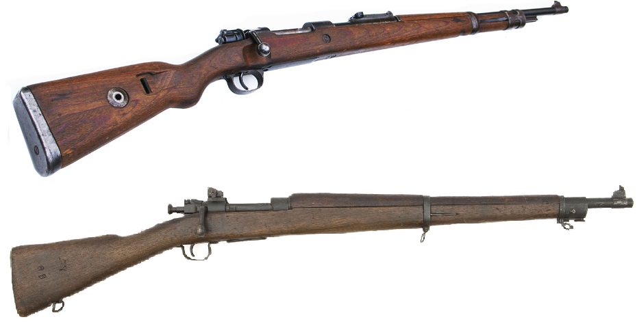 The K98 Mauser (Top) and the 1903 Springfield, both in original form.