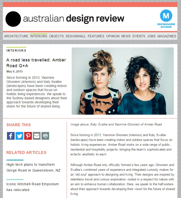 MAY 2015  | AUSTRALIAN DESIGN REVIEW - 'A ROAD LESS TRAVELLED : AMBER ROAD'