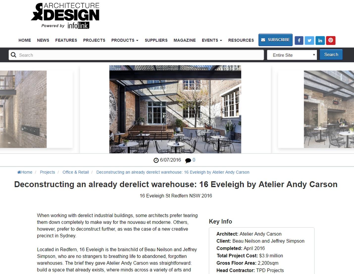 JULY 2016  | ARCHITECTURE & DESIGN - EVELEIGH ST REDFERN