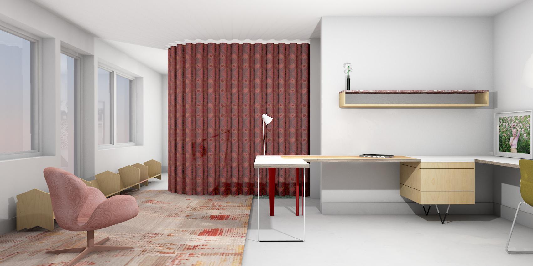 Conceptual rendering of curtain drop in bedroom