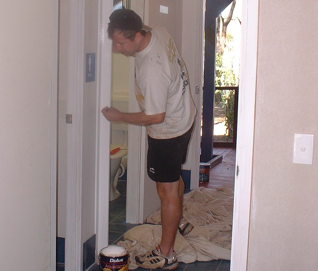 Dave Harrison painting the new Toilets, 2002