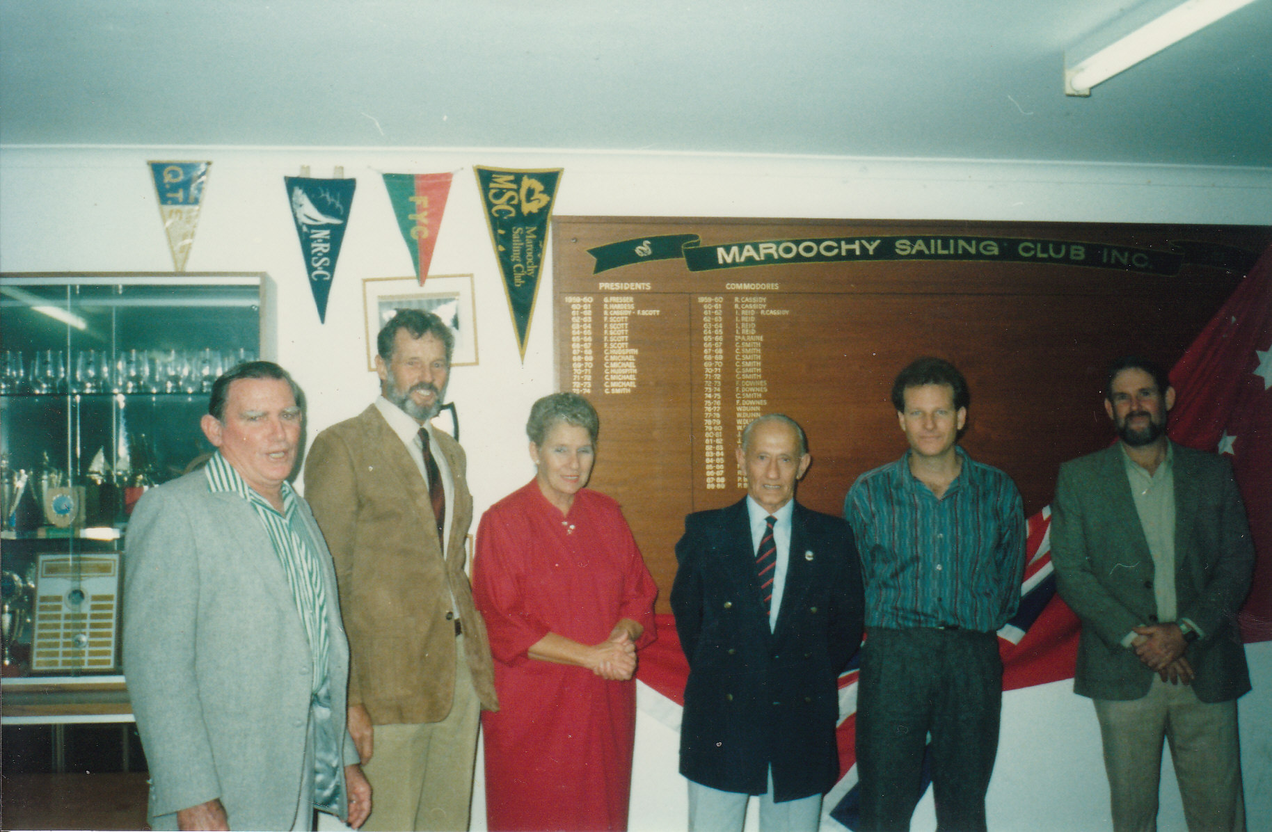 Unveiling the Honour Board, 1989 : Commodores pAST & pRESENT - MAX dUNN, fRED dOWNES, eSTELLE hODGINS, cHARLES sMITH, mIKE bOURKE, pETER bRODIE