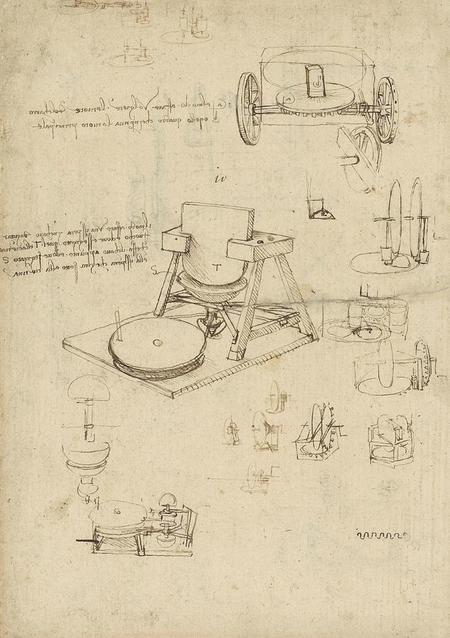 Polishing machine formed by two-wheeled carriage, Atlantic Codex, Leonardo da Vinci.