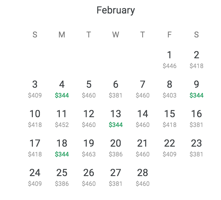 The Google Flights calendar option has made everything easier.