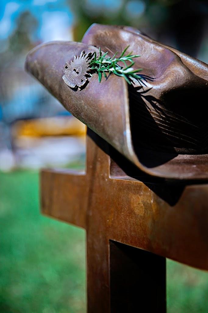 still life photography #GallipoliCross #FallenSoldier #SoldiersHat #RosemaryForRemembarance #SophiaTerraZiva