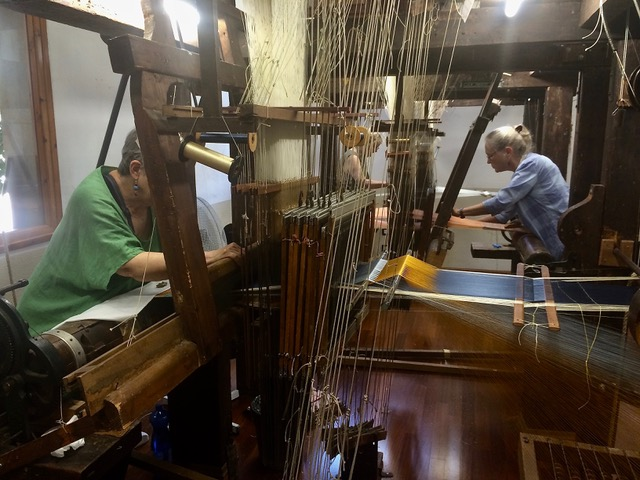 Weaving on antique looms during our Introduction to Jacquard Weaving workshop at Fondazione Lisio, Florence