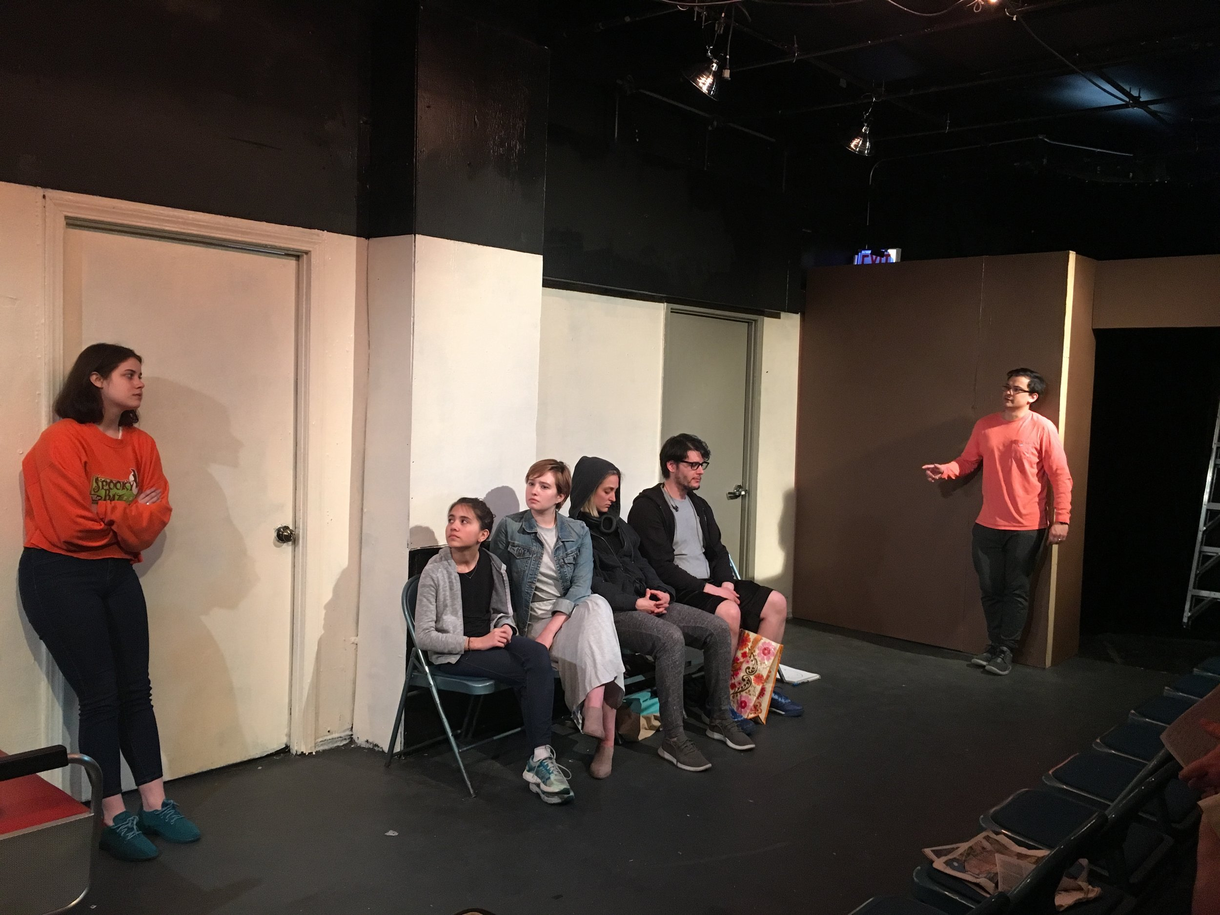 The cast of AMICABLE rehearses. (from left to right: Gracie Brazeal, Izzy Schafer, Abby Walburn, Melanie McNulty, Ian Gonzalez-Muetener, and David Hartley)