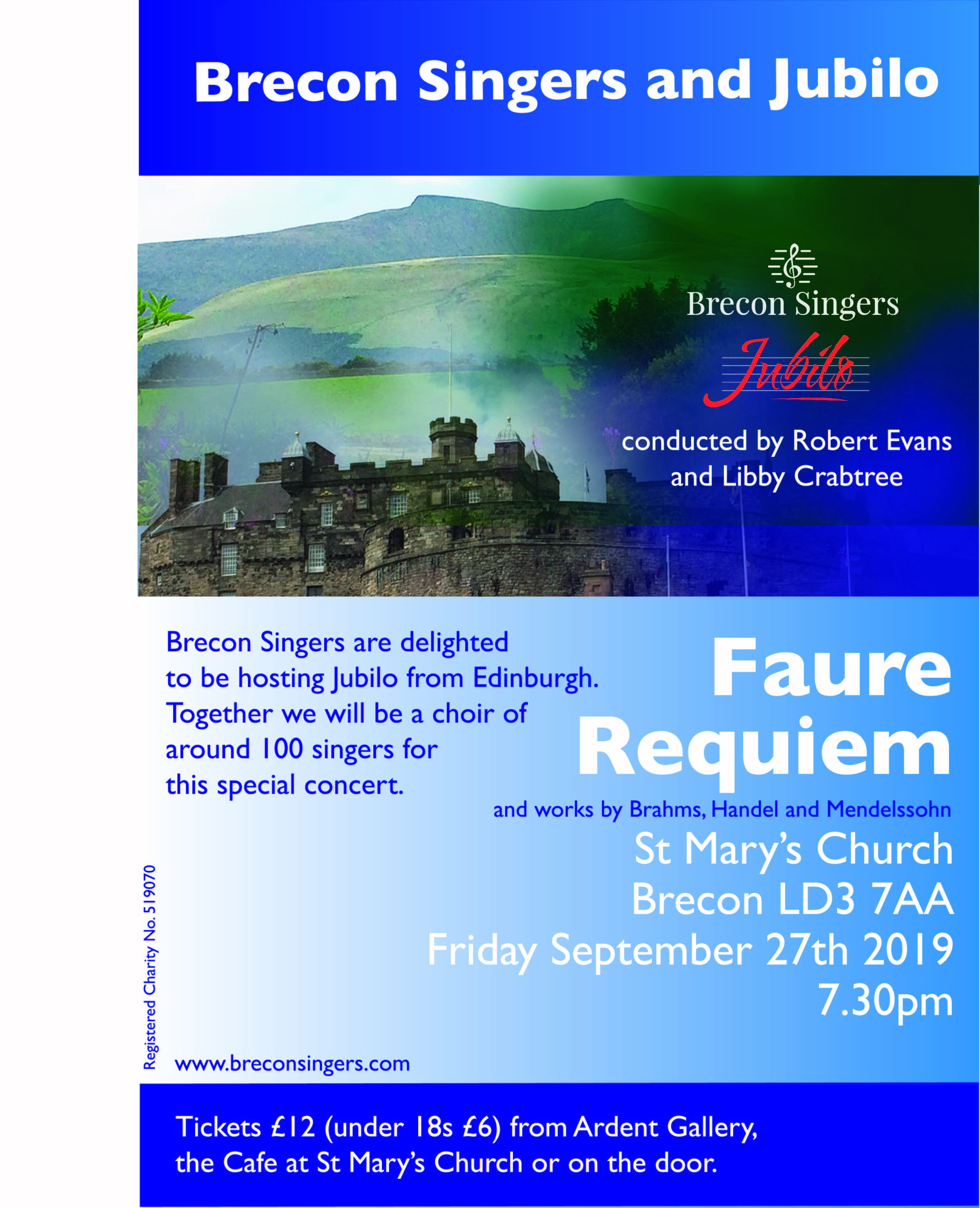 We hope you can join Brecon Singers and Jubilo Choir on Friday 27 September 2019 for this concert and we look forward to seeing you there! -