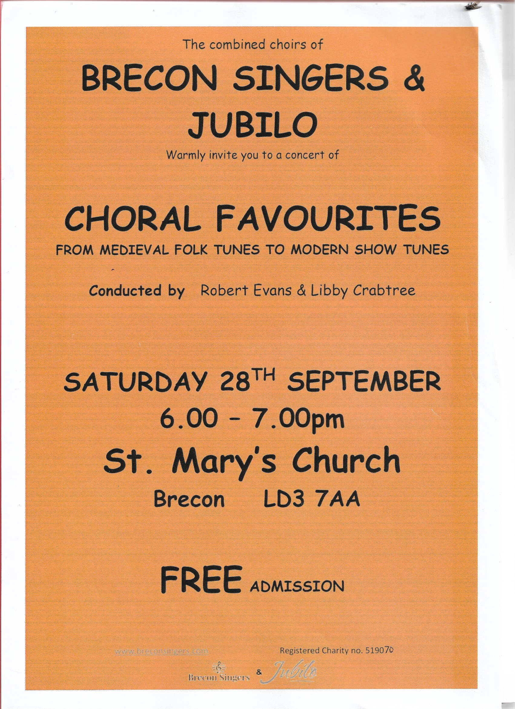 Brecon Singers and Jubilo Choir Edinburgh invite you to join us for a free concert on Saturday 28 September 2019 at St. Mary's Church in Brecon. The music provides entertainment for all…medieval folk tunes, modern show tunes and something for the children! We hope to see you there!!Like us and show your interest on our facebok page. -
