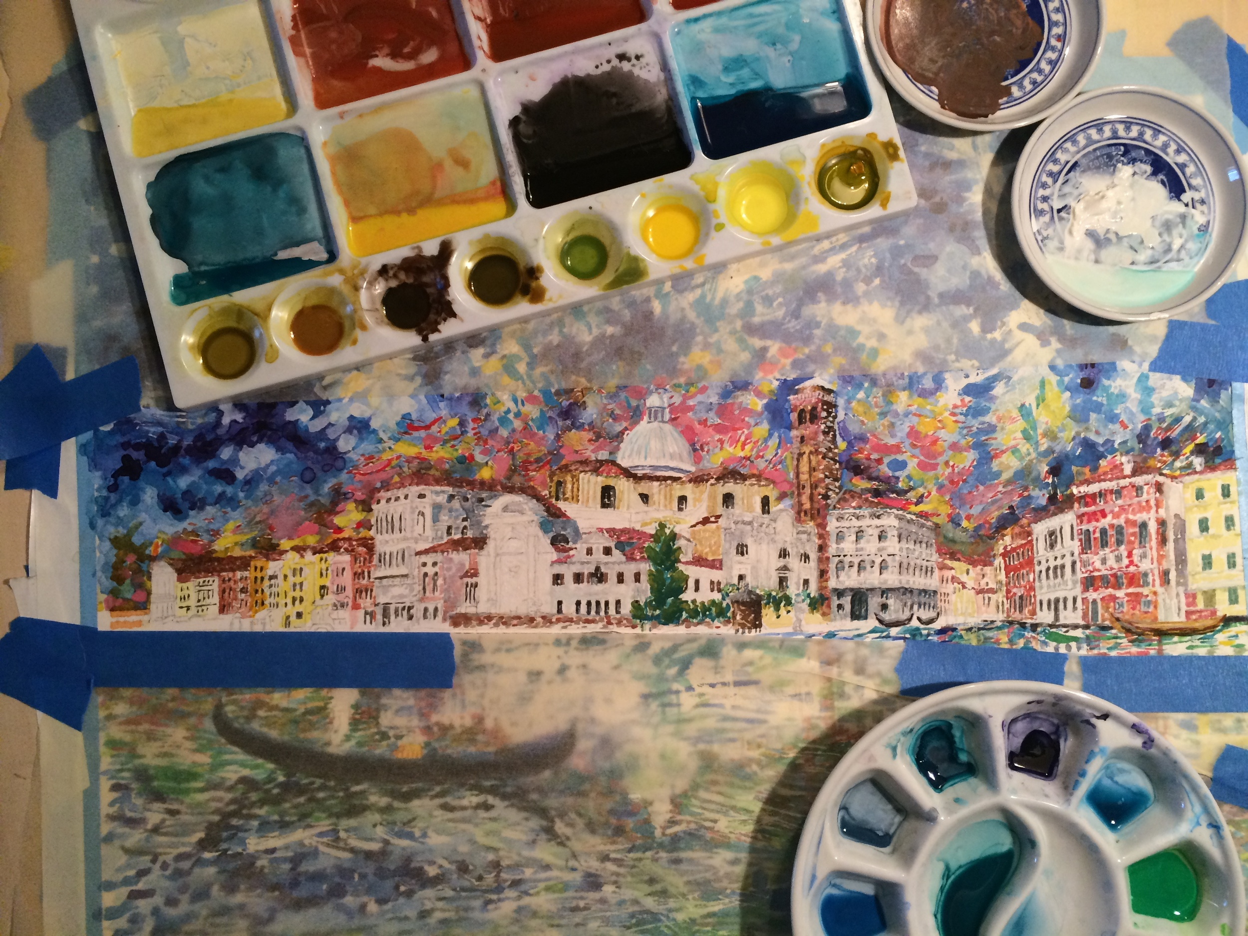 "Working on ""View of Palazzo Labia and San Geremia, Venice"", completed in 2015"