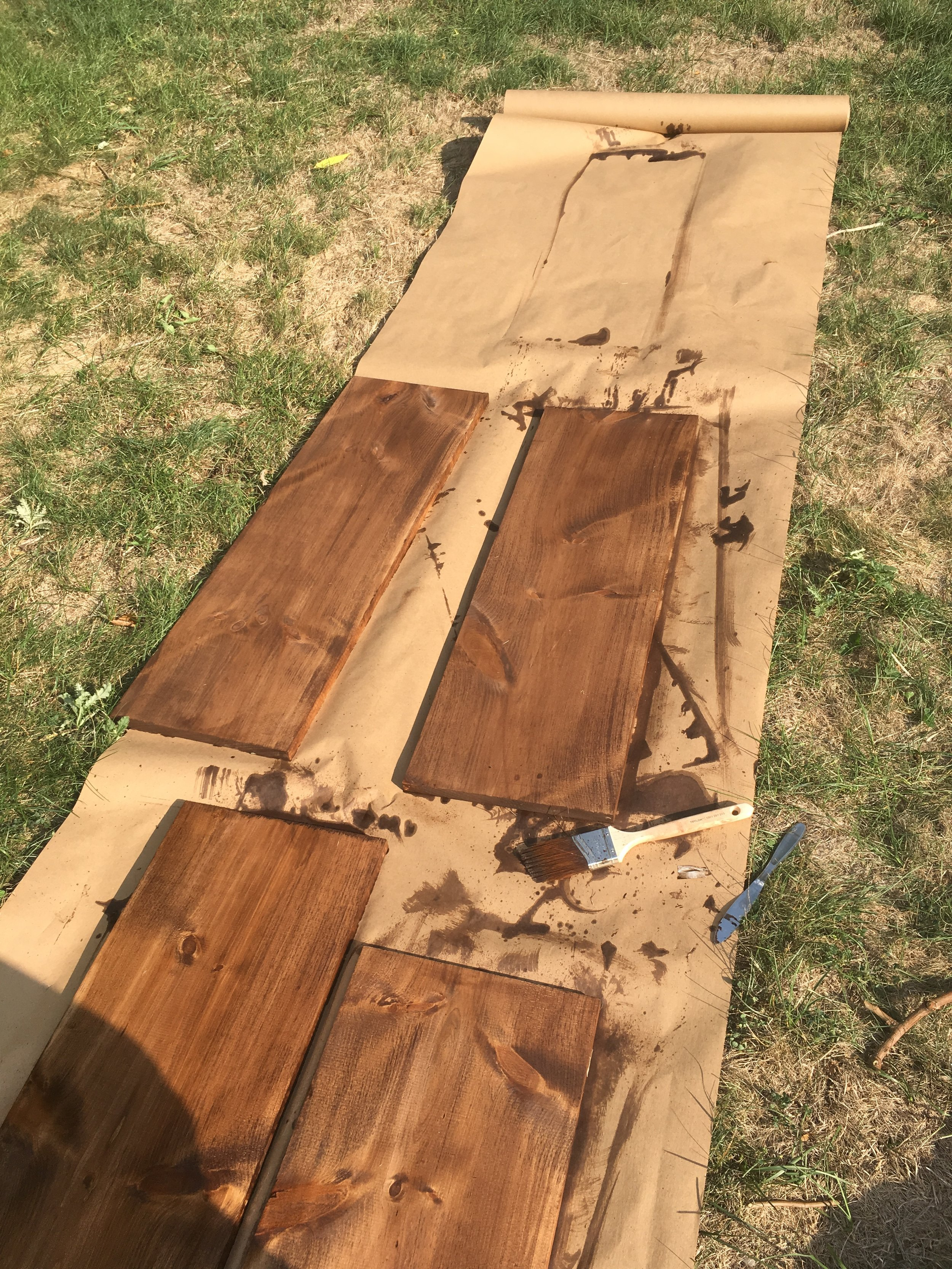 painting my west elm inspired DIY mid century coffee table project