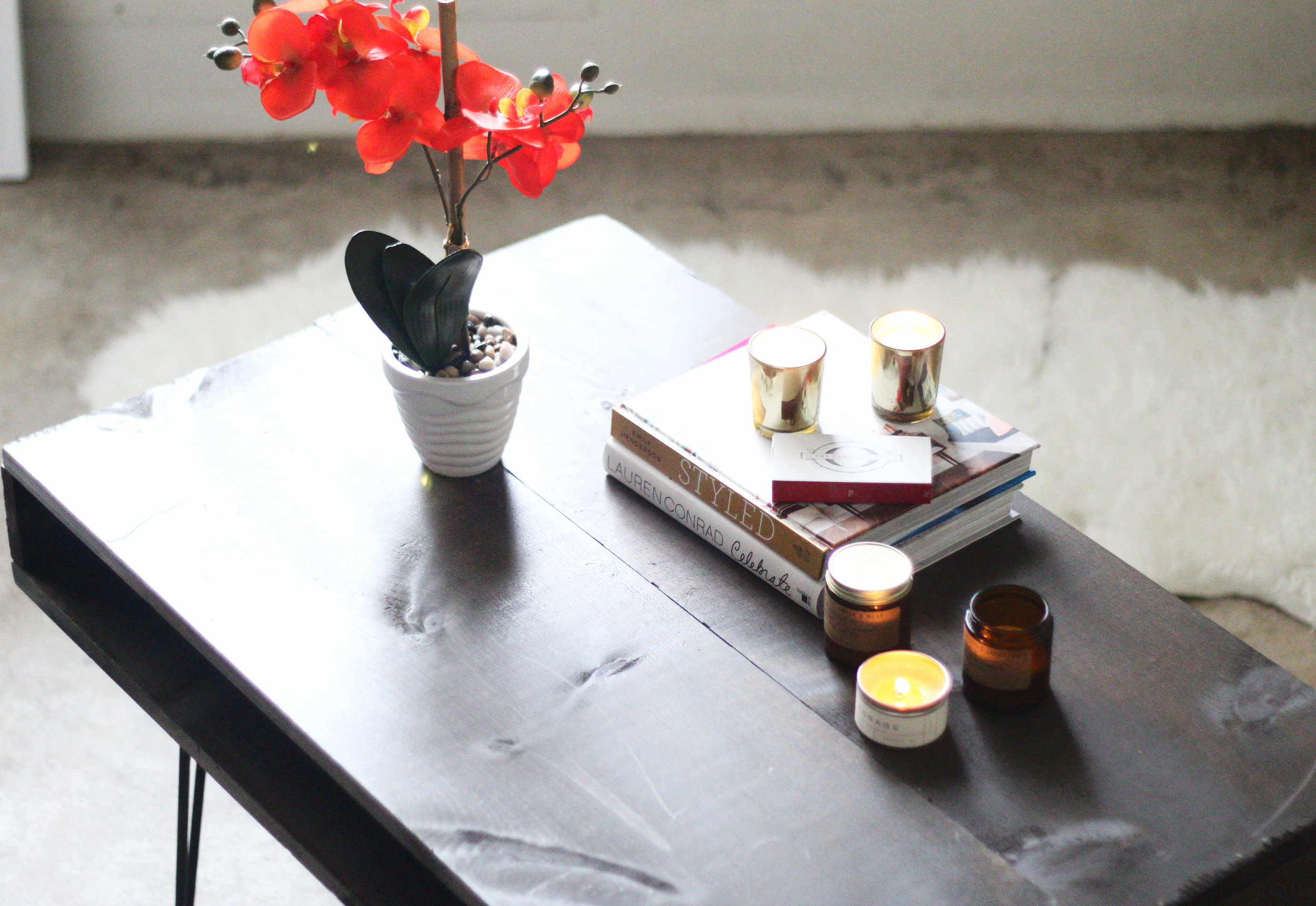 west elm inspired mid century coffee table DIY project