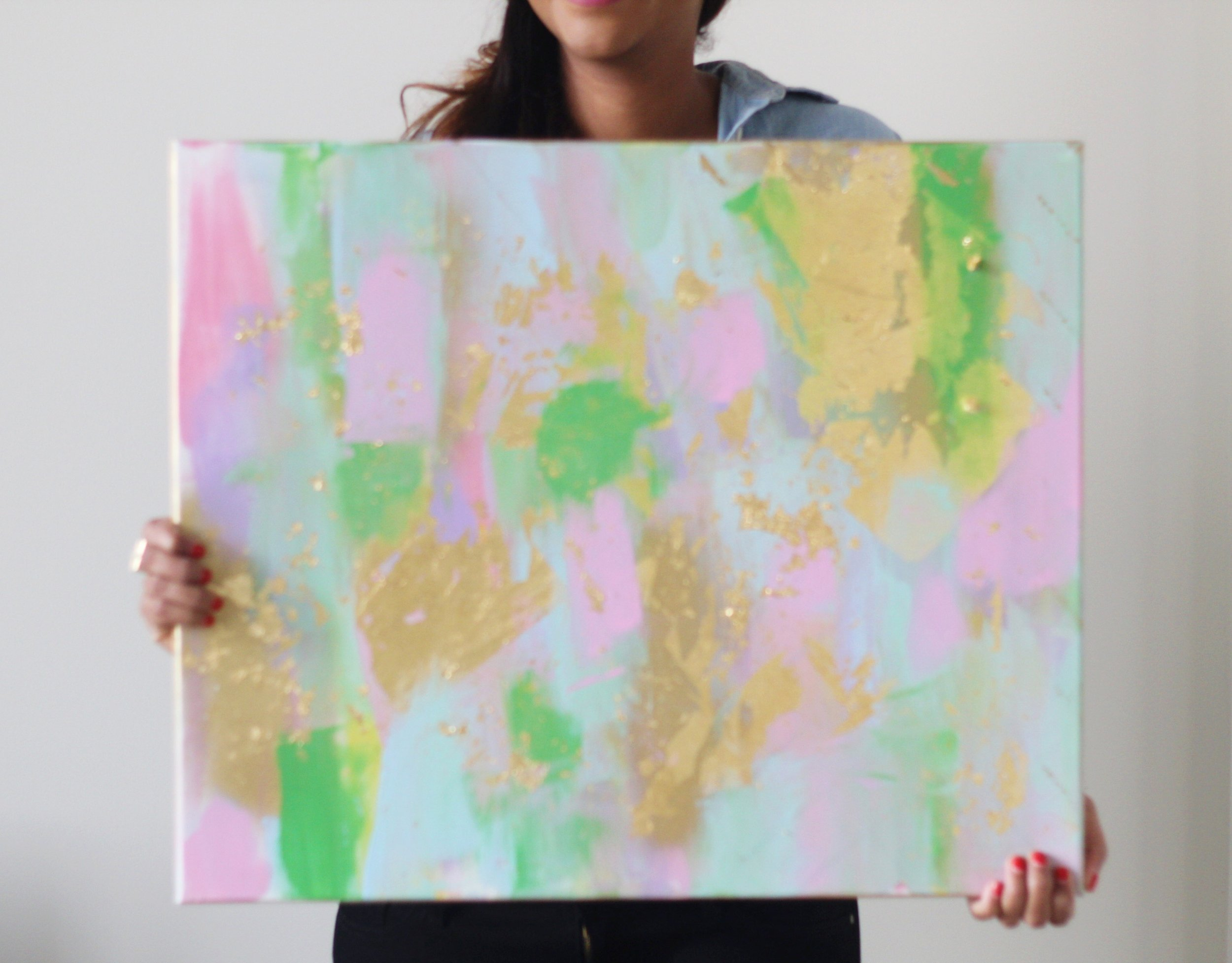 This is a finished version of easy DIY abstract art with gold leaf. This problem can be completed in as quickly as 5 minutes depending on how much you want to paint.