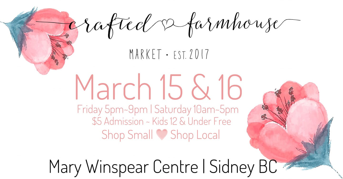Crafted Farmhouse Spring Market at the Mary Winspear Centre. Friday, March 15 from 5pm-9pm and Saturday, March 16 from 10am-5pm. $5 admission with free admission for kids 12 years and under.