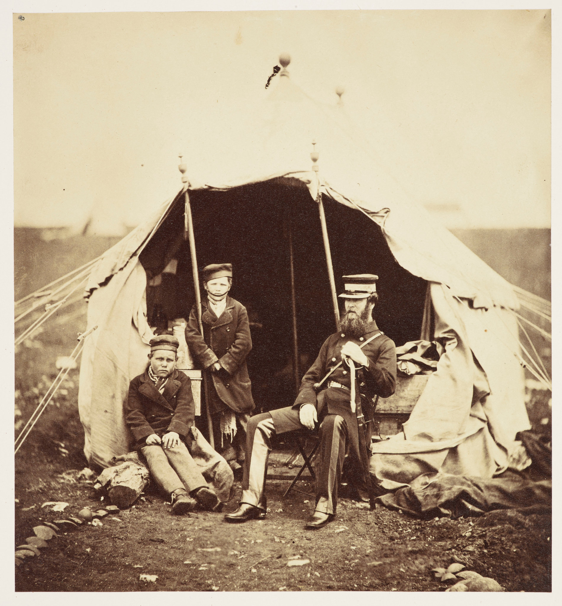 Colonel Brownrigg and two Russian boys, Alma and Inkermann    Roger Fenton   1855