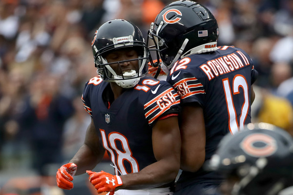 Bears receivers Taylor Gabriel and Allen Robinson celebrates after a score against the Tampa Bay Buccaneers.  (Sept. 29, 2018 - Source: Getty Images North America)