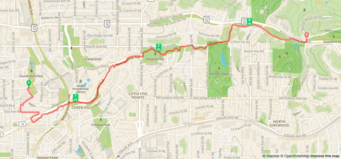 Biking from Historic Fourth Ward Park to Deepdene Park Map from Runkeeper