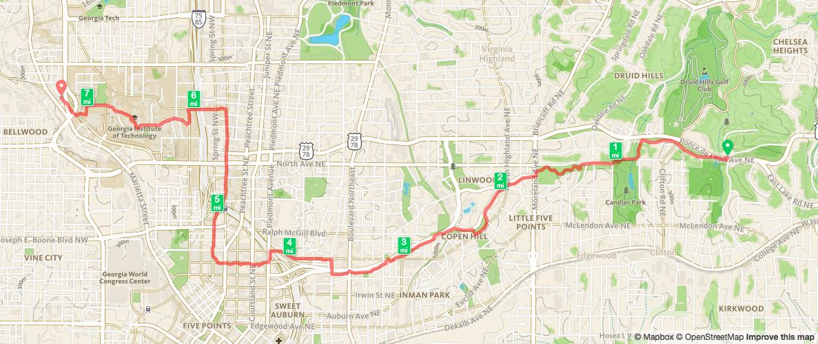 Biking from Deepdene Park to West Midtown Map from Runkeeper