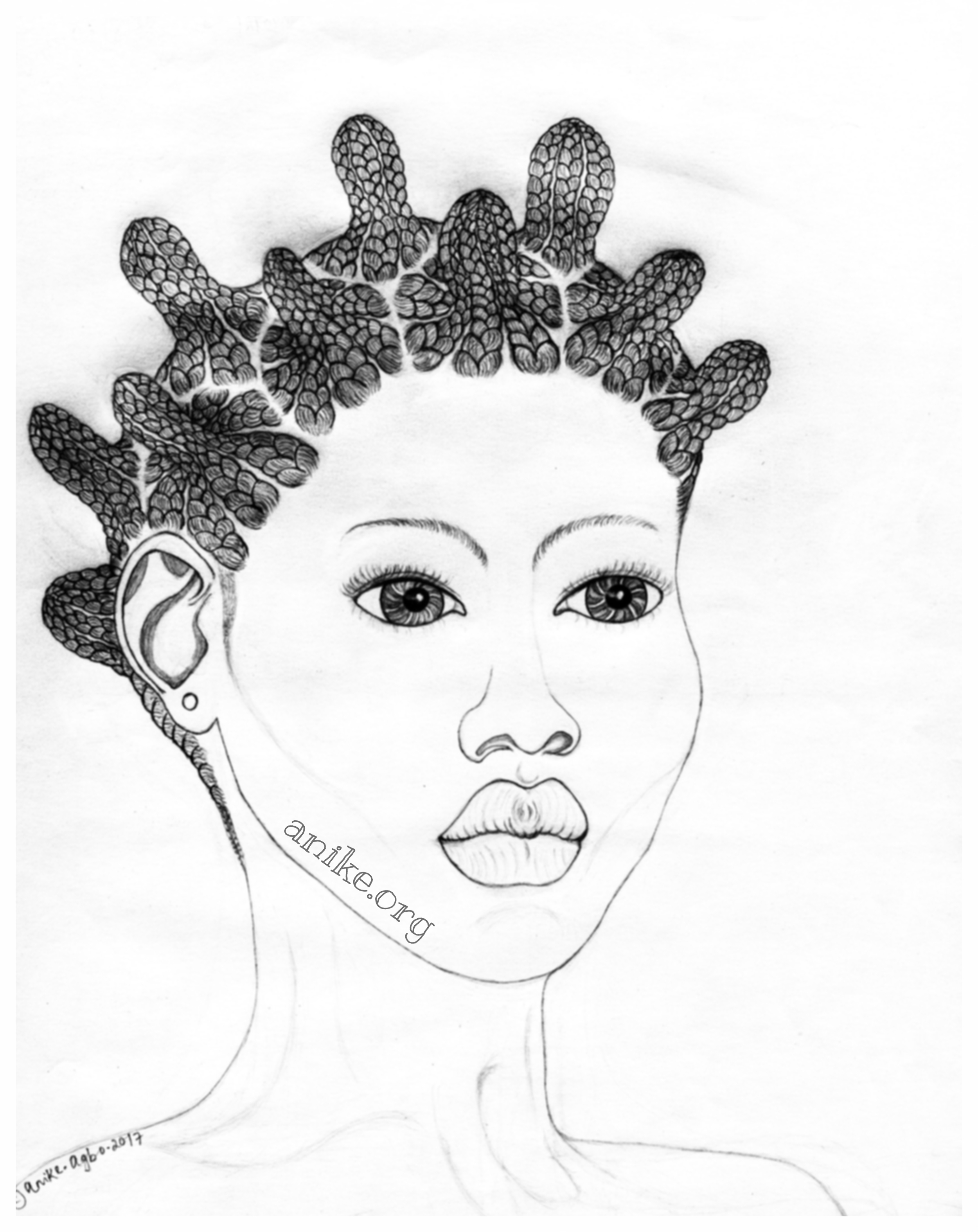 AKÓWONJO : COLLECTIVISM - This is a variation of the Sùkú hairstyle and portrays the concept of collectivism and the