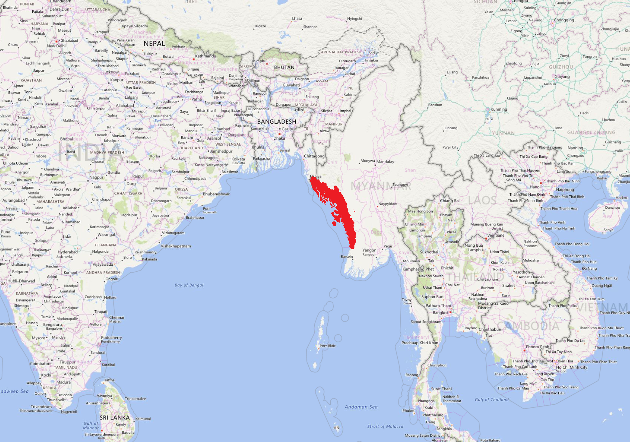 Map of Myanmar and surrounding areas with Rakhine State highlighted in red. Marcus Steiner/CGRE