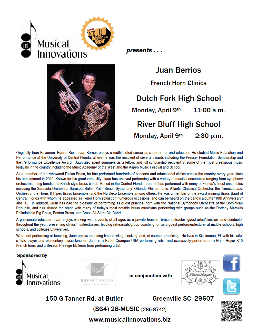 Juan Berrios french horn clinic sponsored in part by Musical Innovations