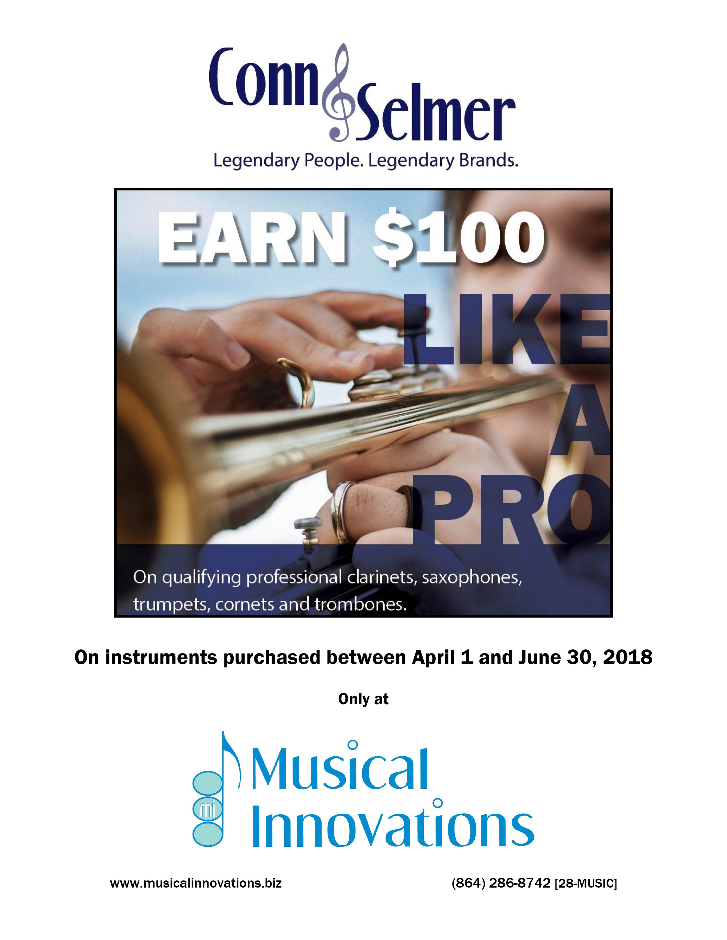 Get $100 back on qualifying professional clarinets, saxophones, trumpets, cornets and trombones.