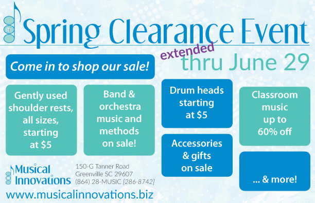 Spring Clearance Sale Event May 13-June 29, 2019 at Musical Innovations