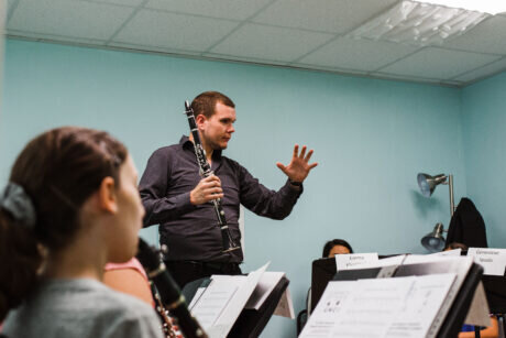 Clarinet clinician Andy Hudson hosted by Musical Innovations and Fox Music House for Clarinet Day.