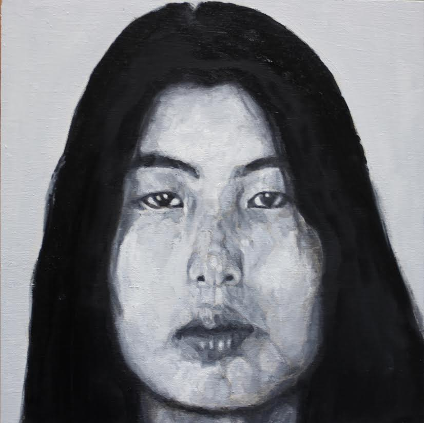 "Dictee: Theresa Hak Kyung Cha,  2017  8"" x 8""  Oil on Panel  2016  A series depicting those that came before, Korean artists who immigrated to America and pioneered a path for future generations. Playing on the idea that I am the latest generation in a lineage of Korean-American artists."