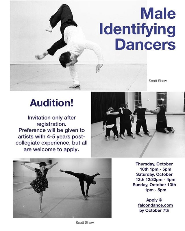 "Falcon Dance is looking for male identifying dancers to join them in the resetting & development of ""Home, Heart, Hero"", for a Spring 2021 Premiere. The work looks at the dynamics of familial relationships through loss, life after death, and our super hero's. Must be available for Saturday & Sunday rehearsals 12pm - 4pm.  Potential rehearsals added on Thursday evenings in 2020, and additional rehearsals leading up to the performance. $8 hour rehearsal pay & $100/per night performance pay. Travel, meal stipend, accommodations, rehearsal pay, & teaching pay provided for all residencies.  We are looking for mature artists who are interested in collaboration and have extensive partnering experience. Preference will be given to artists with 4-5 years post collegiate training, but all are welcome to apply.  Brit is drawn to work that explores present day and historical socio-cultural issues, that understands the empathetic and communal power of experiential knowledge in performance. *LINK IN BIO*"