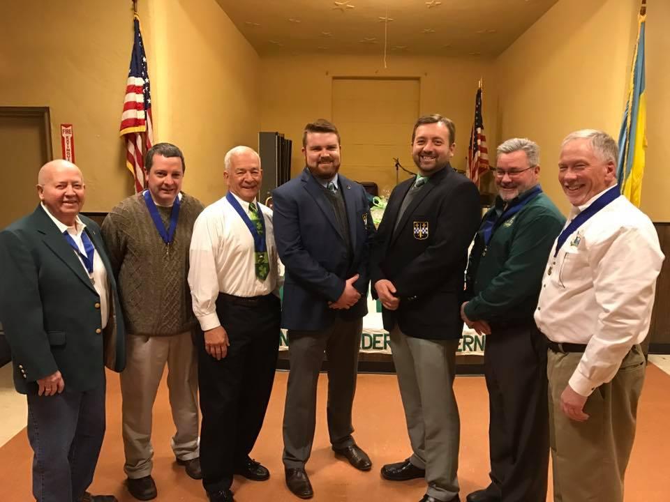 Left to right: Sentinel, Mickey Abbott; Recording Secretary, Pat Clark;Treasurer, Jim Snatchko; Merv Knieriem; Tom Kedlick;Vice President, Tim Regan; and, President, Bob Kelly