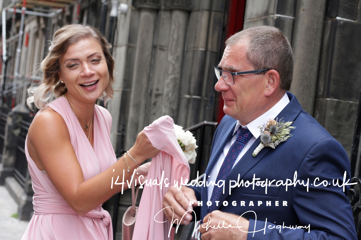 Sylvia's father - Bridesmaid - trying to dry fathers tears