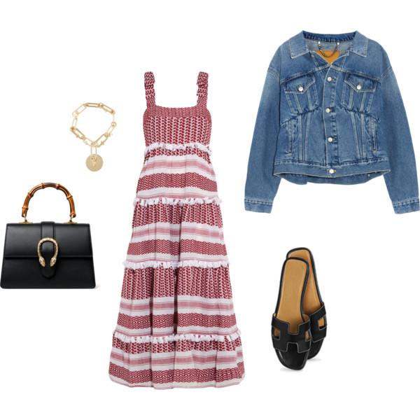 Dodo Bar Or  dress,  Balenciaga  denim jacket,  Gucci  handbag,  Hermes  slides,  Maison Margiela  charm bracelet.