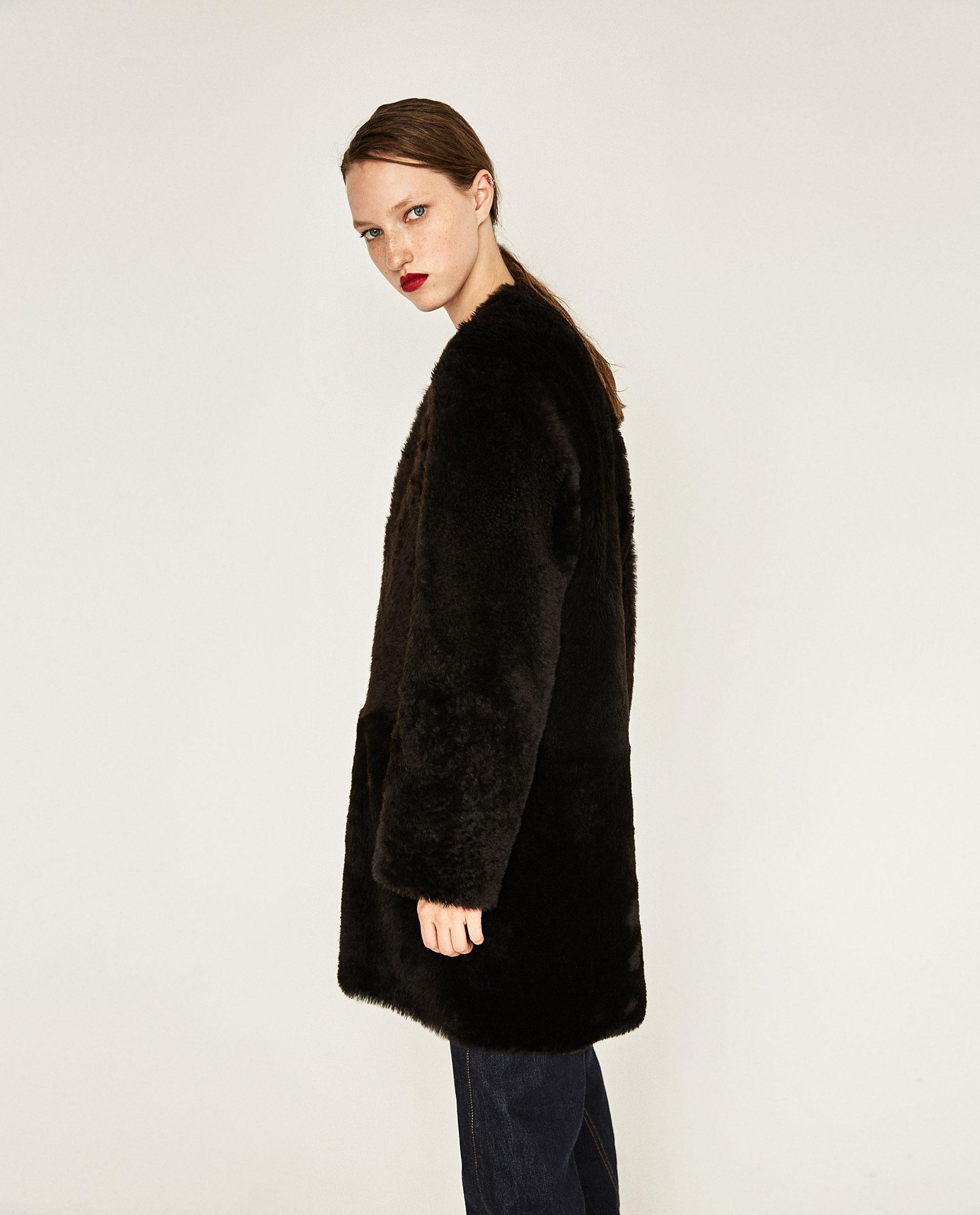 lambskin leather coat $580